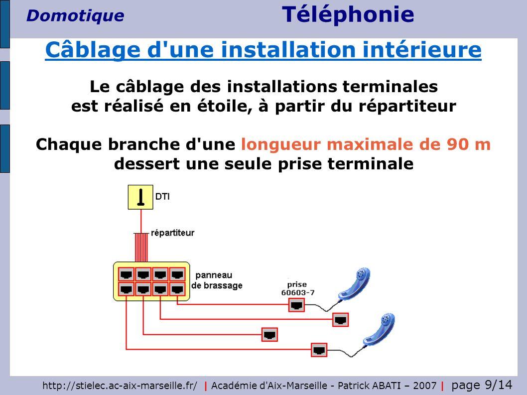 Téléphonie Domotique http://stielec.ac-aix-marseille.fr/   Académie d'Aix-Marseille - Patrick ABATI – 2007   page 9/14 Le câblage des installations te