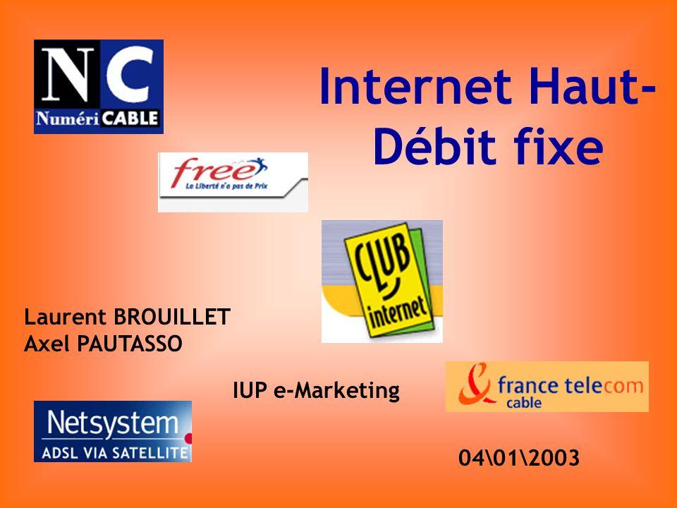 Internet Haut- Débit fixe Laurent BROUILLET Axel PAUTASSO IUP e-Marketing 04\01\2003