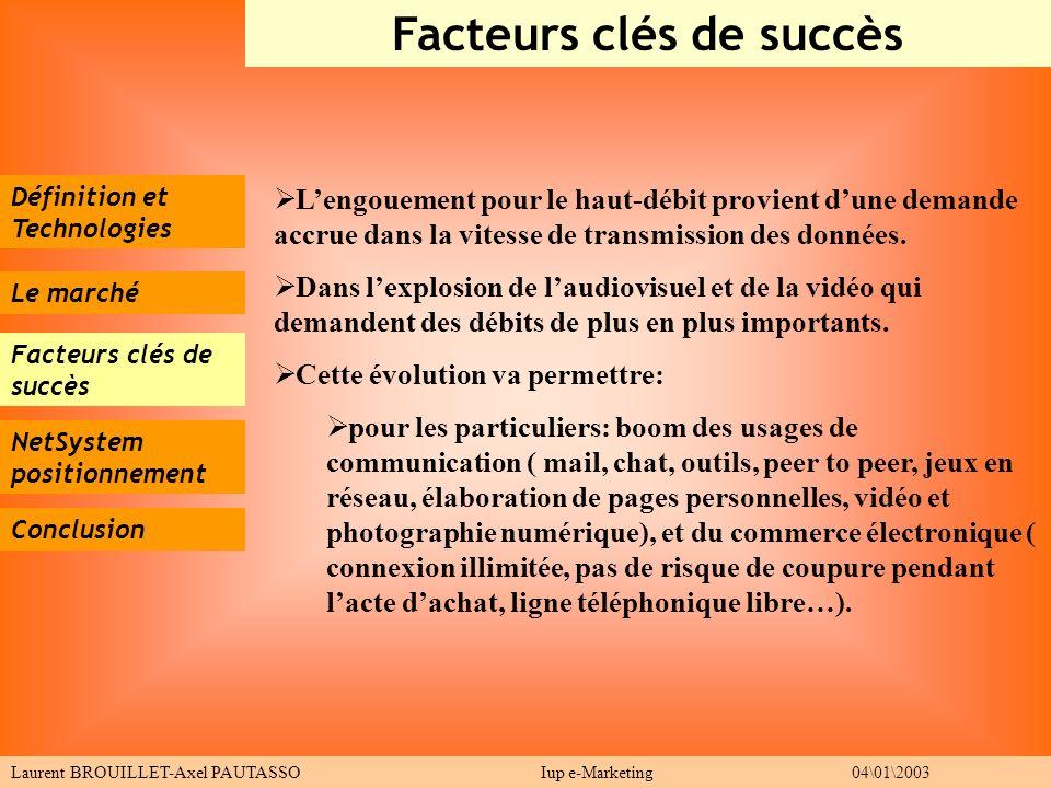 Définition et Technologies Le marché Facteurs clés de succès Conclusion Facteurs clés de succès Laurent BROUILLET-Axel PAUTASSO Iup e-Marketing 04\01\
