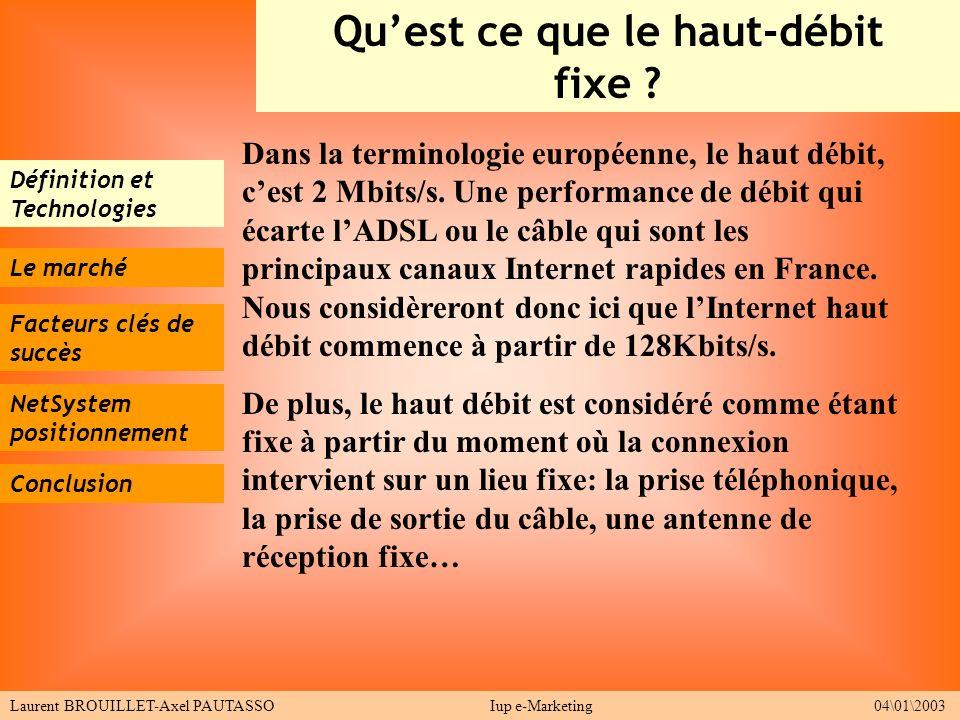 Définition et Technologies Le marché Facteurs clés de succès Conclusion Quest ce que le haut-débit fixe ? Laurent BROUILLET-Axel PAUTASSOIup e-Marketi