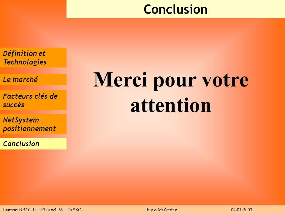 Définition et Technologies Le marché Facteurs clés de succès Conclusion Laurent BROUILLET-Axel PAUTASSO Iup e-Marketing 04\01\2003 NetSystem positionn