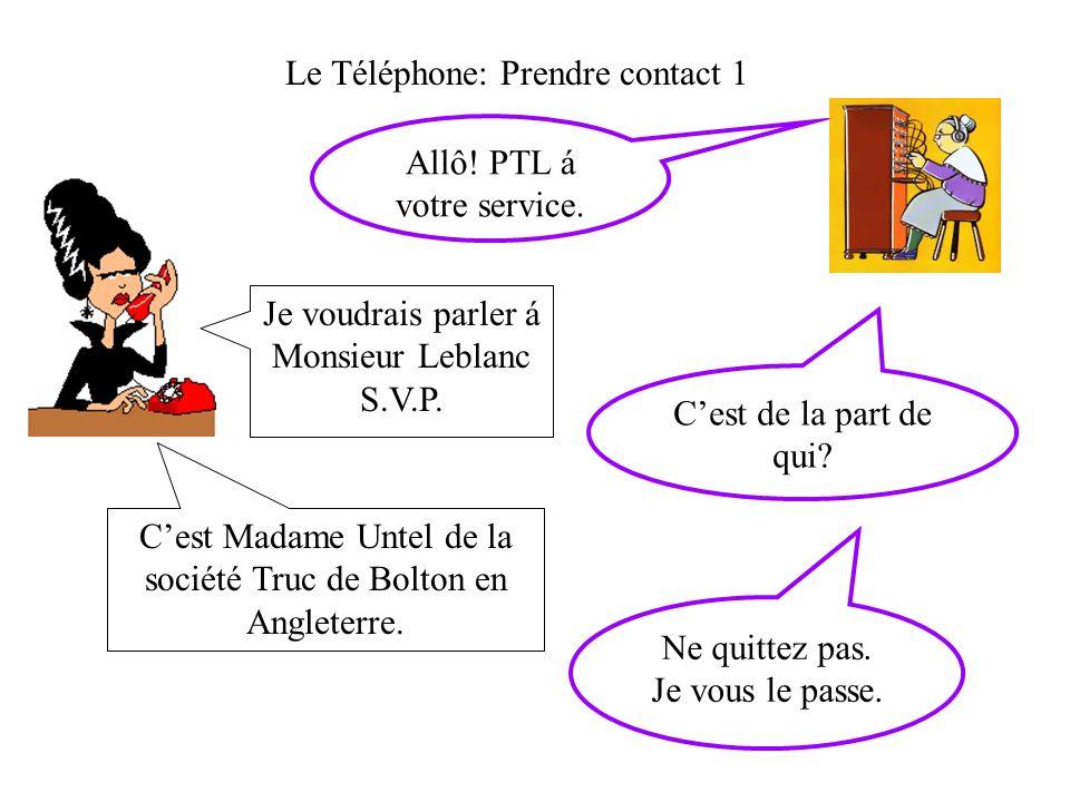 Le Téléphone: Prendre contact 1 Allô.PTL á votre service.