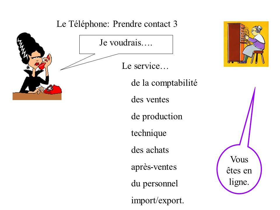 Le Téléphone: Prendre contact 3 Je voudrais….