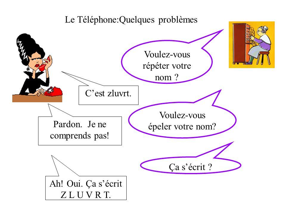 Le Téléphone:Quelques problèmes Voulez-vous répéter votre nom .