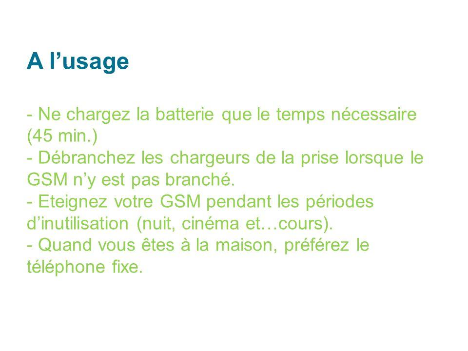 A lusage - Ne chargez la batterie que le temps nécessaire (45 min.) - Débranchez les chargeurs de la prise lorsque le GSM ny est pas branché.