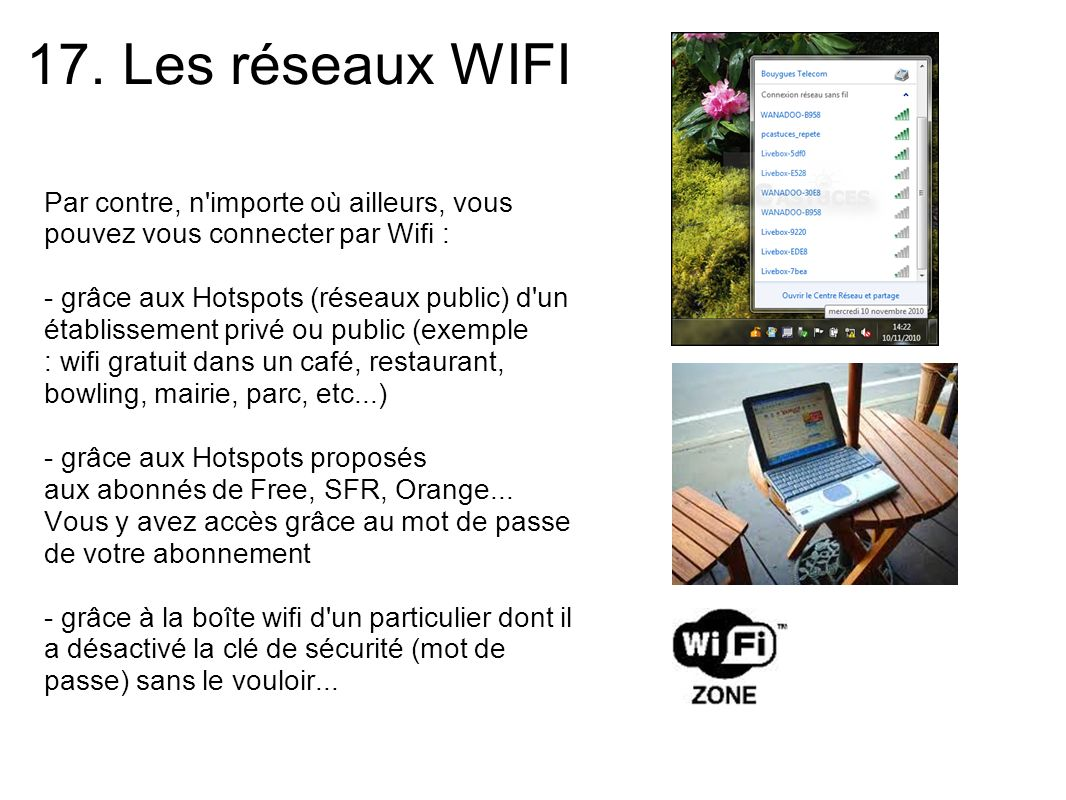 17. Les réseaux WIFI Par contre, n'importe où ailleurs, vous pouvez vous connecter par Wifi : - grâce aux Hotspots (réseaux public) d'un établissement