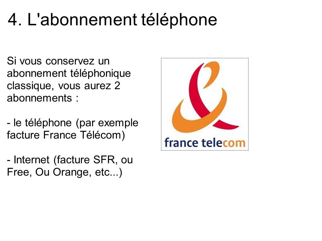 4. L'abonnement téléphone Si vous conservez un abonnement téléphonique classique, vous aurez 2 abonnements : - le téléphone (par exemple facture Franc