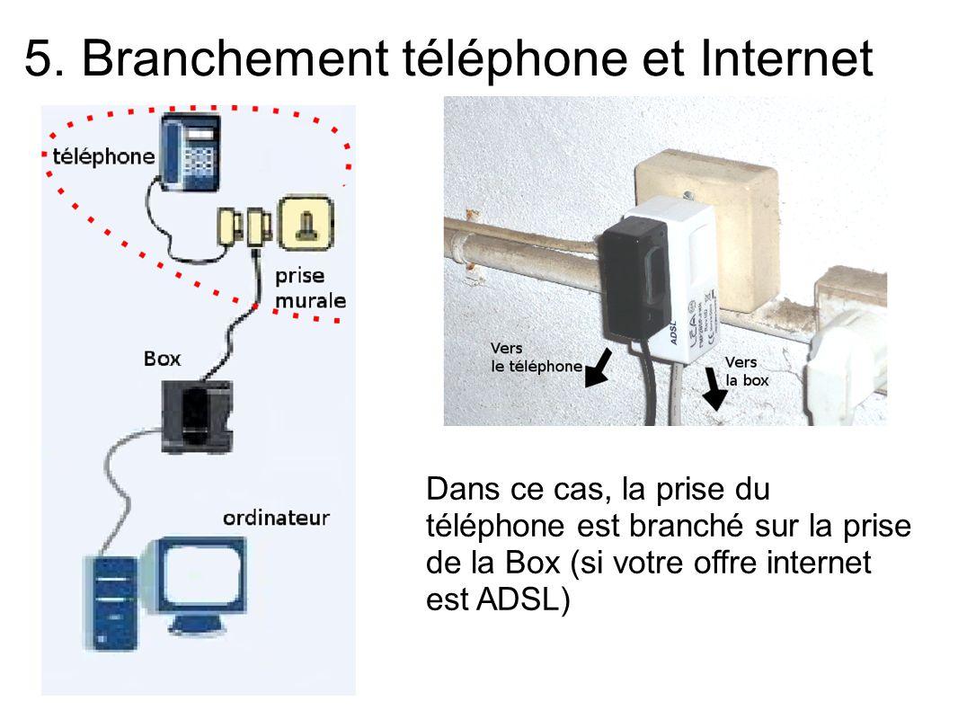 5. Branchement téléphone et Internet Dans ce cas, la prise du téléphone est branché sur la prise de la Box (si votre offre internet est ADSL)