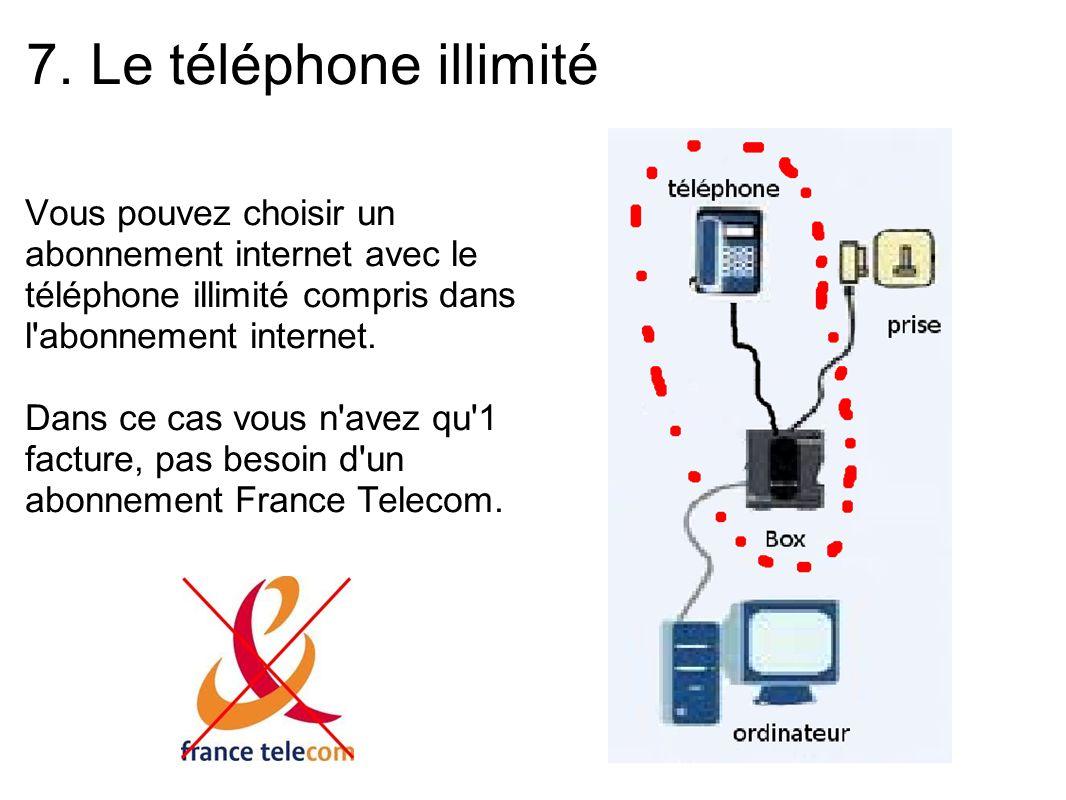 7. Le téléphone illimité Vous pouvez choisir un abonnement internet avec le téléphone illimité compris dans l'abonnement internet. Dans ce cas vous n'