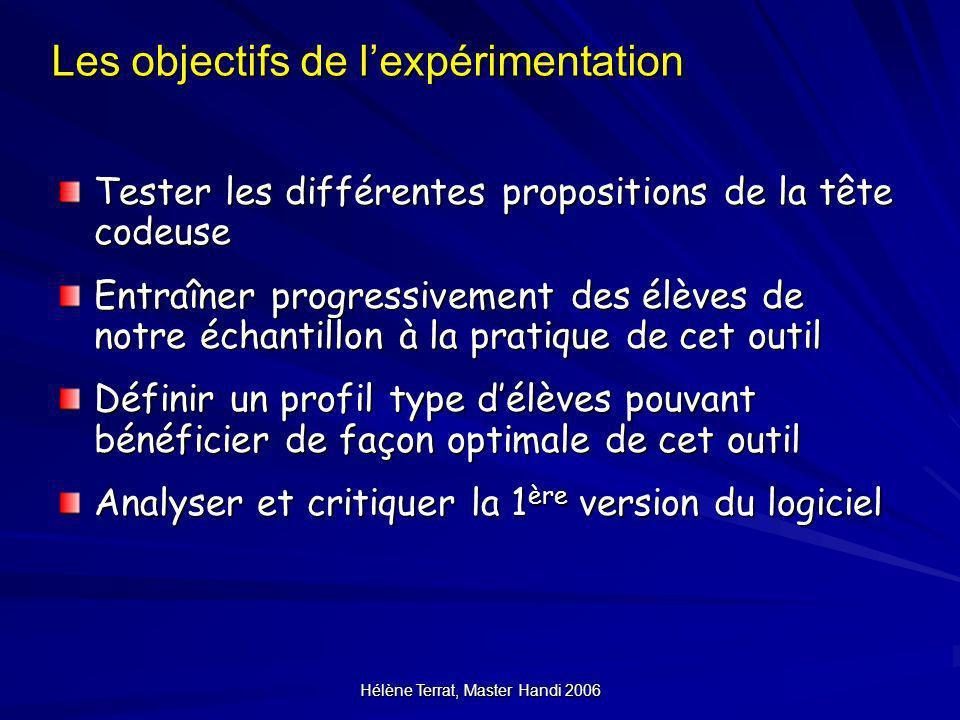 Hélène Terrat, Master Handi 2006 Les objectifs de lexpérimentation Tester les différentes propositions de la tête codeuse Entraîner progressivement de