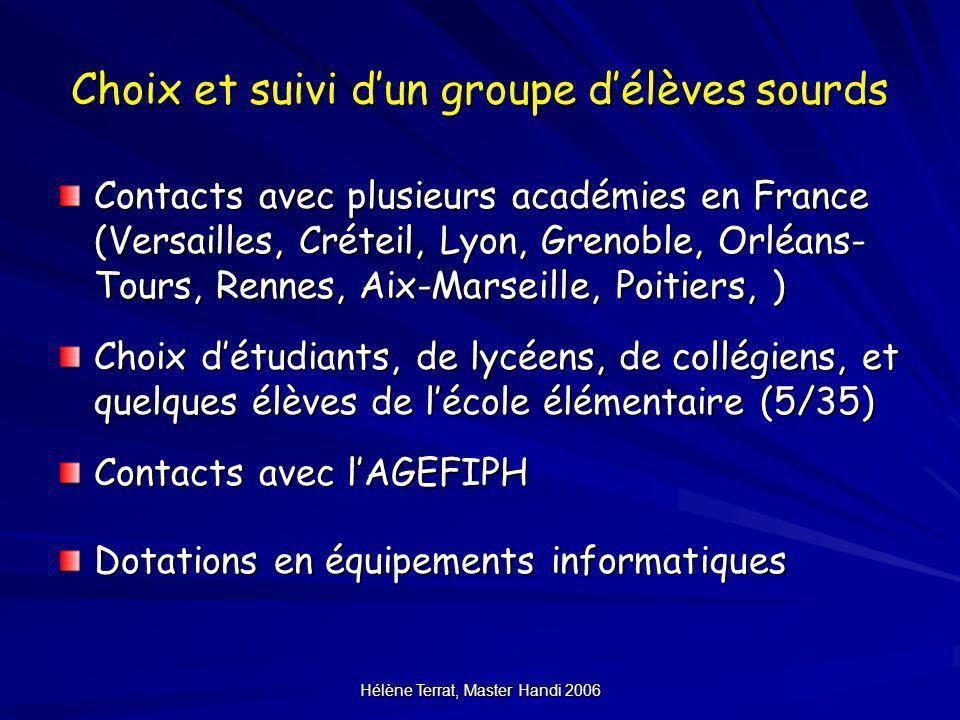 Hélène Terrat, Master Handi 2006 Choix et suivi dun groupe délèves sourds Contacts avec plusieurs académies en France (Versailles, Créteil, Lyon, Gren