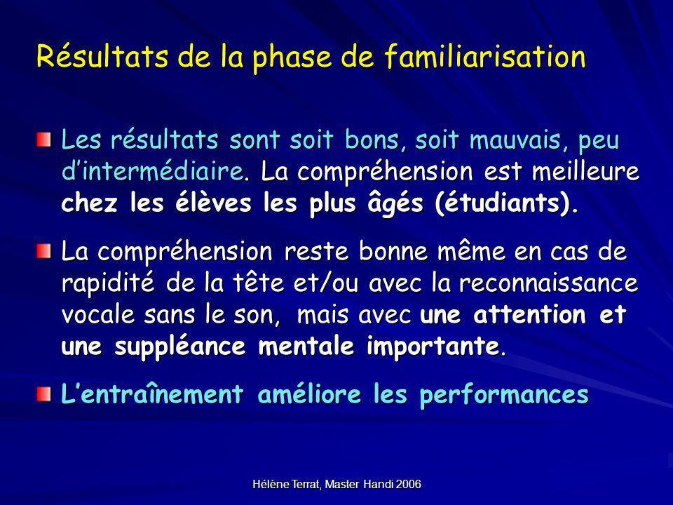 Hélène Terrat, Master Handi 2006 Résultats de la phase de familiarisation Les résultats sont soit bons, soit mauvais, peu dintermédiaire. La compréhen