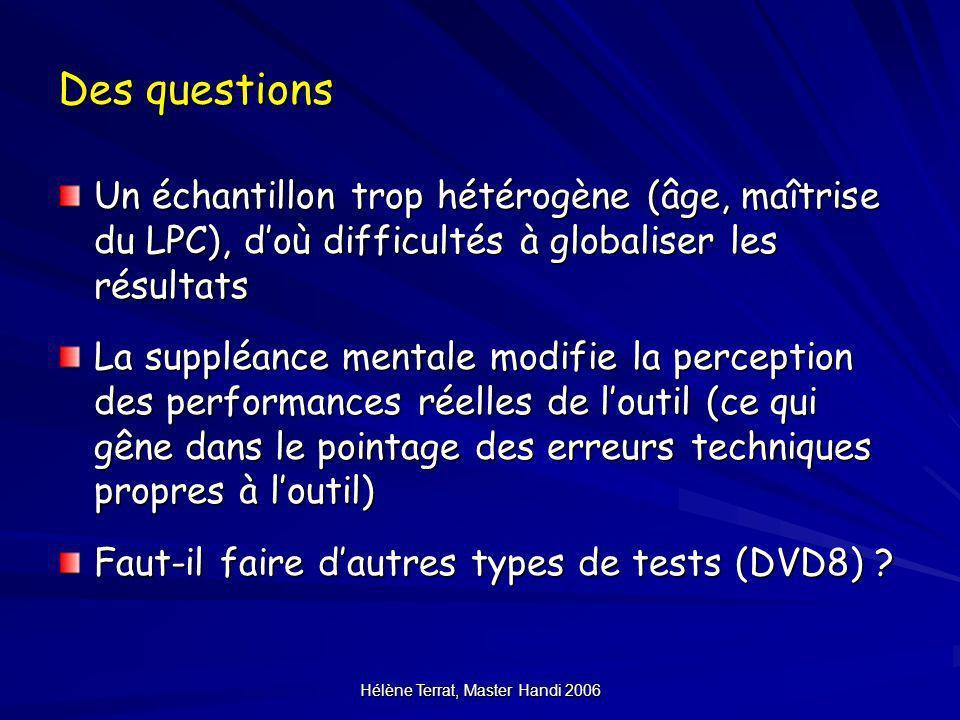 Hélène Terrat, Master Handi 2006 Des questions Un échantillon trop hétérogène (âge, maîtrise du LPC), doù difficultés à globaliser les résultats La su