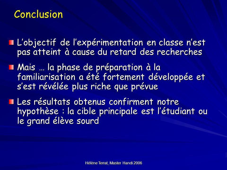 Hélène Terrat, Master Handi 2006Conclusion Lobjectif de lexpérimentation en classe nest pas atteint à cause du retard des recherches Mais … la phase d