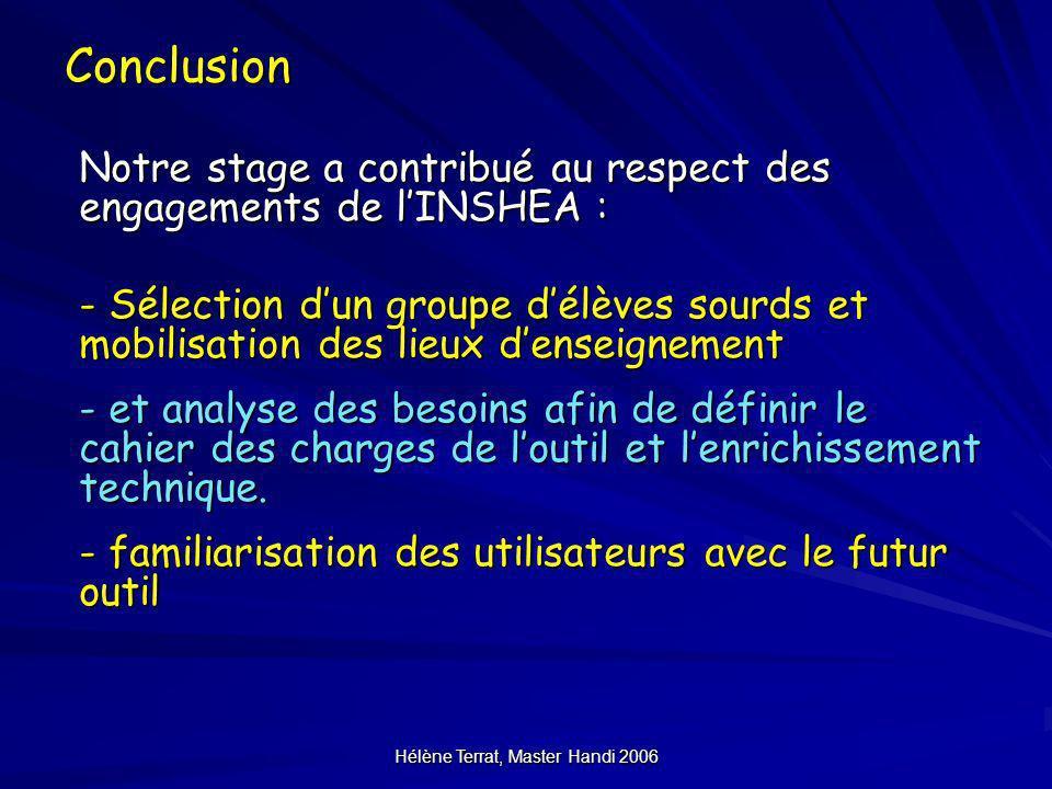 Hélène Terrat, Master Handi 2006Conclusion Notre stage a contribué au respect des engagements de lINSHEA : - Sélection dun groupe délèves sourds et mo