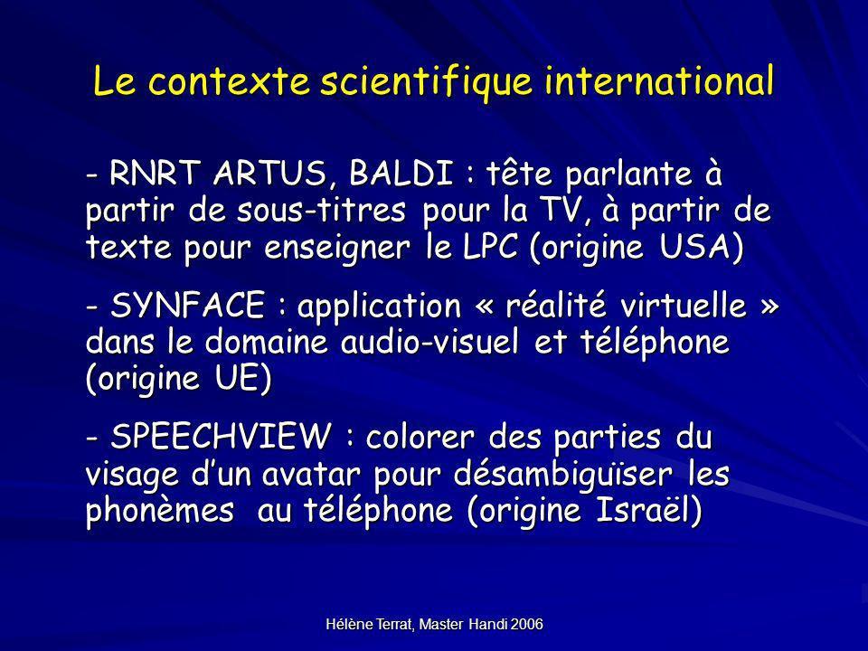Hélène Terrat, Master Handi 2006 Le contexte scientifique international - RNRT ARTUS, BALDI : tête parlante à partir de sous-titres pour la TV, à part