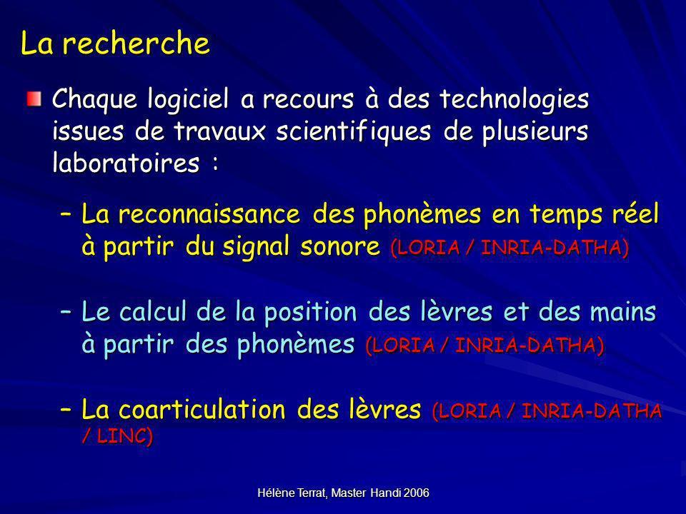 Hélène Terrat, Master Handi 2006 La recherche Chaque logiciel a recours à des technologies issues de travaux scientifiques de plusieurs laboratoires :