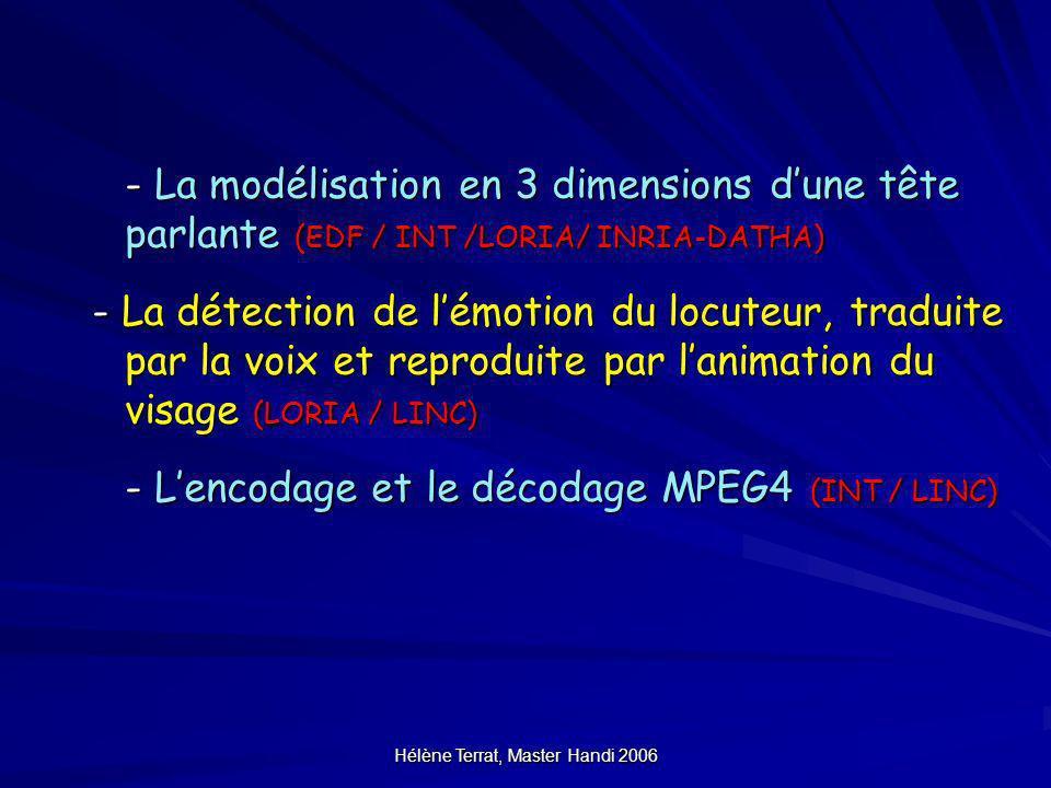 Hélène Terrat, Master Handi 2006 - La modélisation en 3 dimensions dune tête parlante (EDF / INT /LORIA/ INRIA-DATHA) - La détection de lémotion du lo