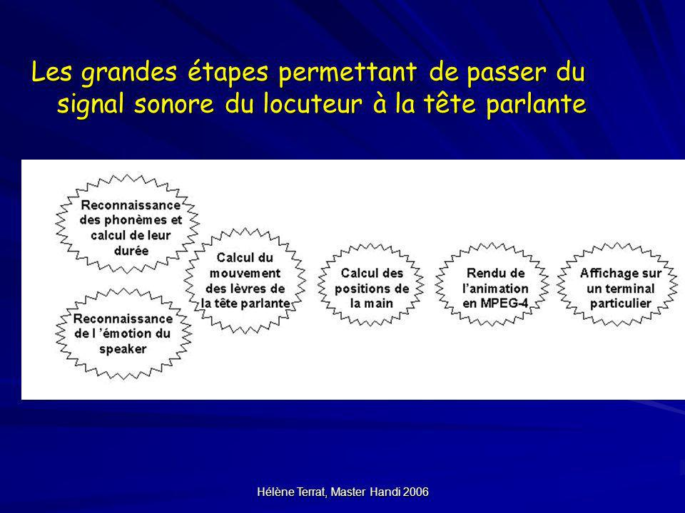 Hélène Terrat, Master Handi 2006 Les grandes étapes permettant de passer du signal sonore du locuteur à la tête parlante