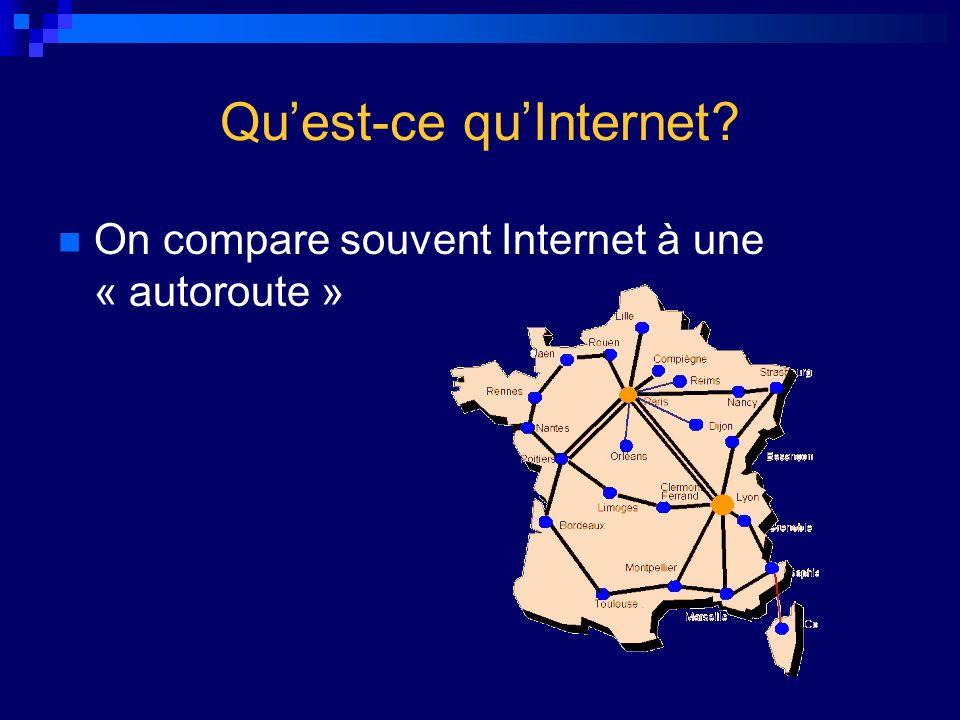 Quest-ce quInternet? On compare souvent Internet à une « autoroute »