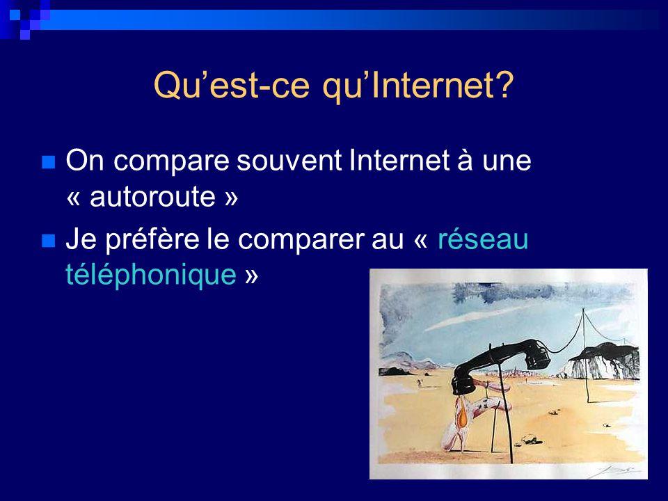 Quest-ce quInternet? On compare souvent Internet à une « autoroute » Je préfère le comparer au « réseau téléphonique »