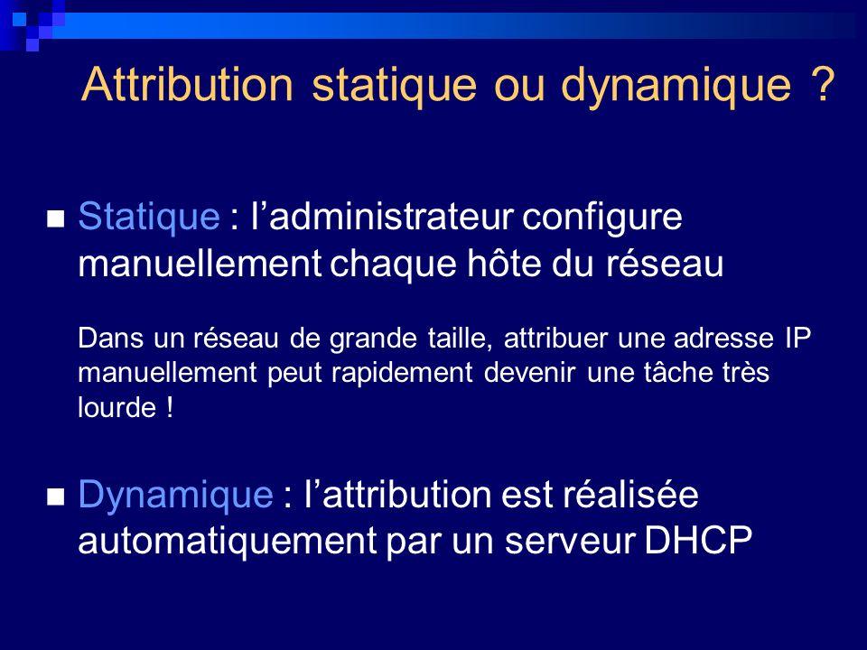 Attribution statique ou dynamique ? Statique : ladministrateur configure manuellement chaque hôte du réseau Dans un réseau de grande taille, attribuer