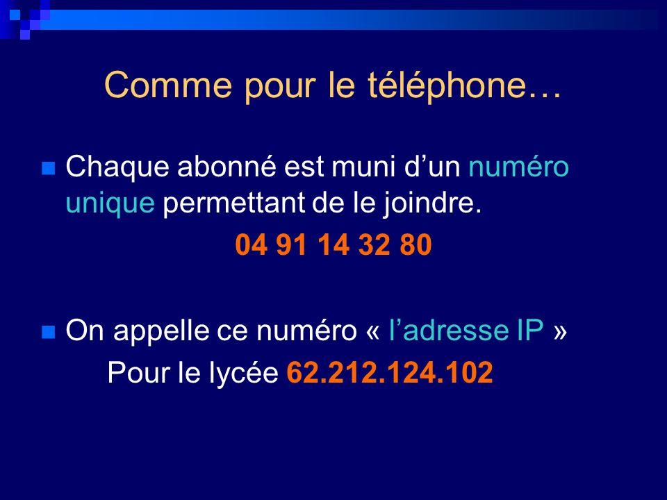 Comme pour le téléphone… Chaque abonné est muni dun numéro unique permettant de le joindre. 04 91 14 32 80 On appelle ce numéro « ladresse IP » Pour l