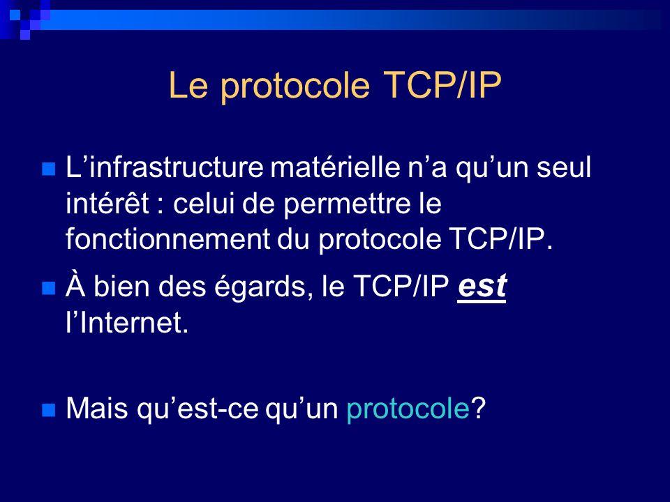 Le protocole TCP/IP Linfrastructure matérielle na quun seul intérêt : celui de permettre le fonctionnement du protocole TCP/IP. À bien des égards, le