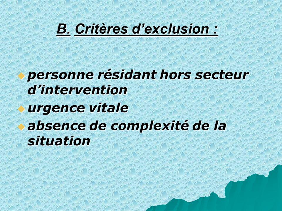 B. Critères dexclusion : personne résidant hors secteur dintervention personne résidant hors secteur dintervention urgence vitale urgence vitale absen