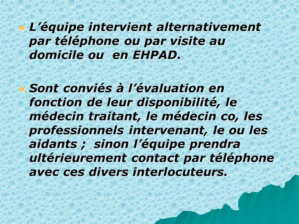 Léquipe intervient alternativement par téléphone ou par visite au domicile ou en EHPAD. Léquipe intervient alternativement par téléphone ou par visite