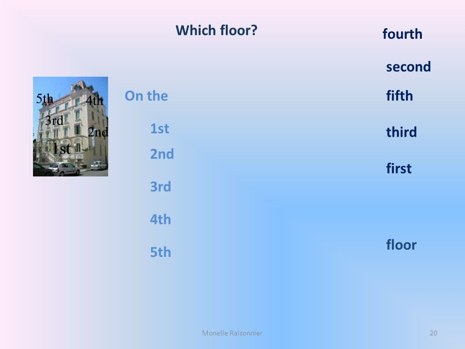 Which floor? On the 1st 2nd 3rd 4th 5th first third fifth second fourth floor Monelle Raisonnier20