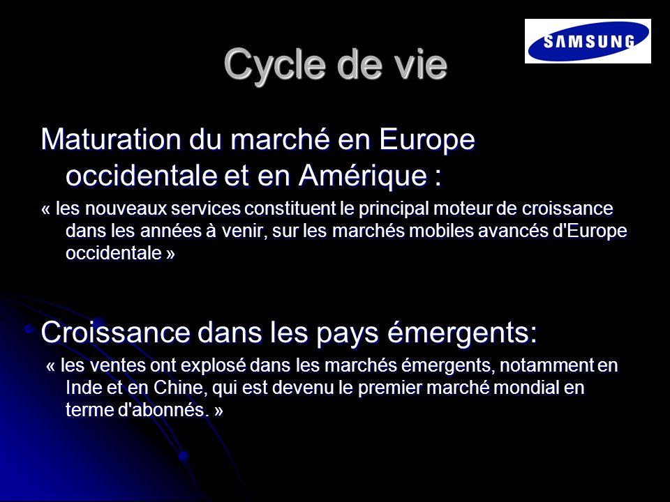 Cycle de vie Maturation du marché en Europe occidentale et en Amérique : « les nouveaux services constituent le principal moteur de croissance dans le