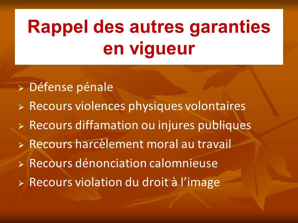 Rappel des autres garanties en vigueur Défense pénale Recours violences physiques volontaires Recours diffamation ou injures publiques Recours harcèle