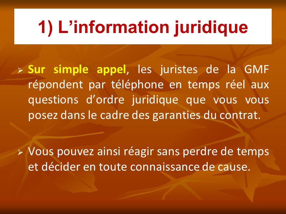 1) Linformation juridique Sur simple appel, les juristes de la GMF répondent par téléphone en temps réel aux questions dordre juridique que vous vous