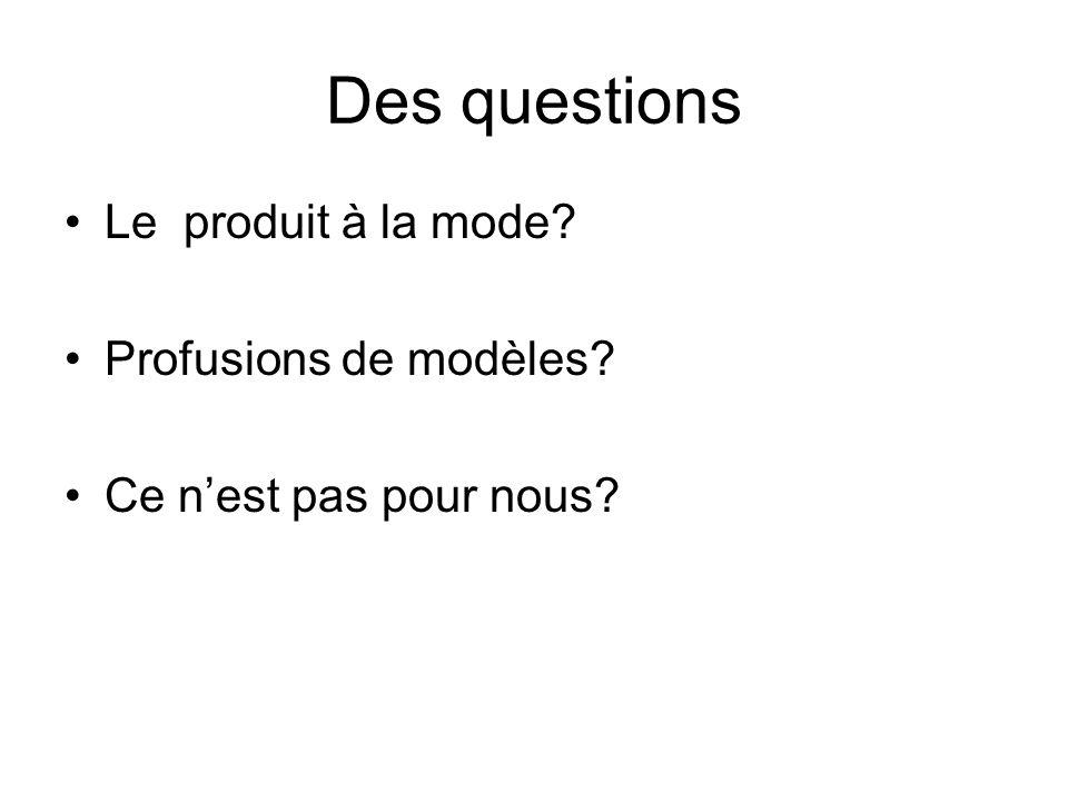 Des questions Le produit à la mode Profusions de modèles Ce nest pas pour nous