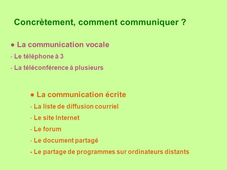 Concrètement, comment communiquer ? La communication vocale - Le téléphone à 3 - La téléconférence à plusieurs La communication écrite - La liste de d