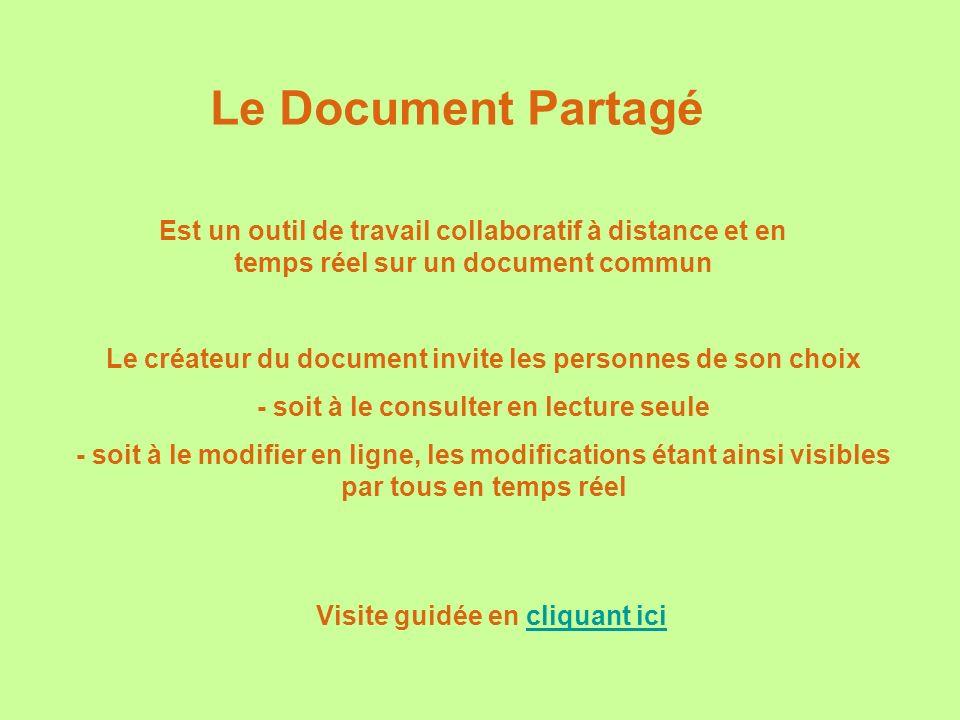 Le Document Partagé Est un outil de travail collaboratif à distance et en temps réel sur un document commun Visite guidée en cliquant icicliquant ici