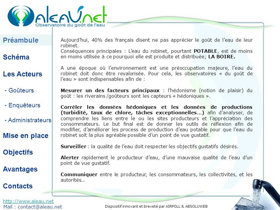 Dispositif innovant et breveté par AIRPOLL & ABSOLUWEB Préambule Schéma Les Acteurs - Goûteurs - Enquêteurs - Administrateurs Mise en place Objectifs Avantages Contacts http://www.aleau.net Mail : contact@aleau.net Aujourdhui, 40% des français disent ne pas apprécier le goût de leau de leur robinet.