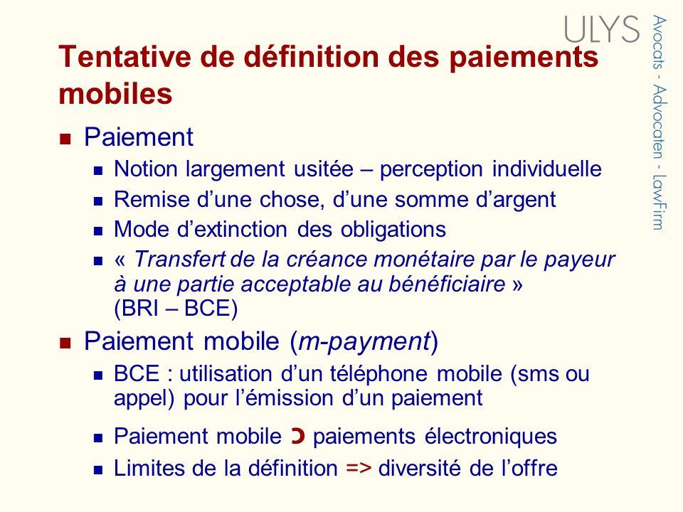 Tentative de définition des paiements mobiles Paiement Notion largement usitée – perception individuelle Remise dune chose, dune somme dargent Mode de