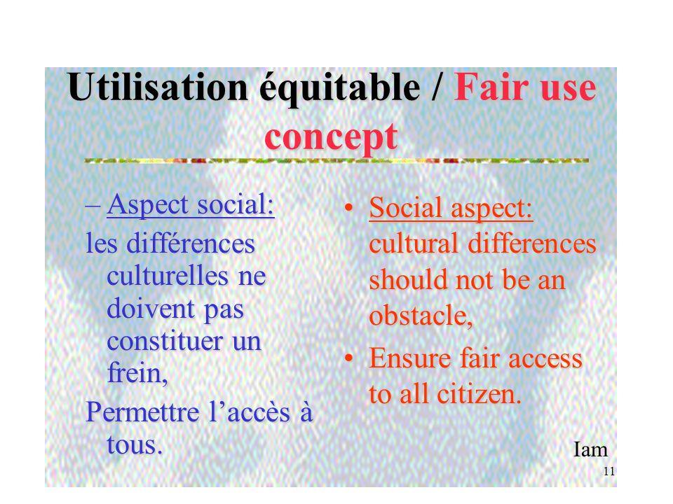 Iam 10 Utilisation équitable / Fair use concept –Aspect financier: ne pas instaurer de barrières financières limitant laccès. –Financial aspect: avoid
