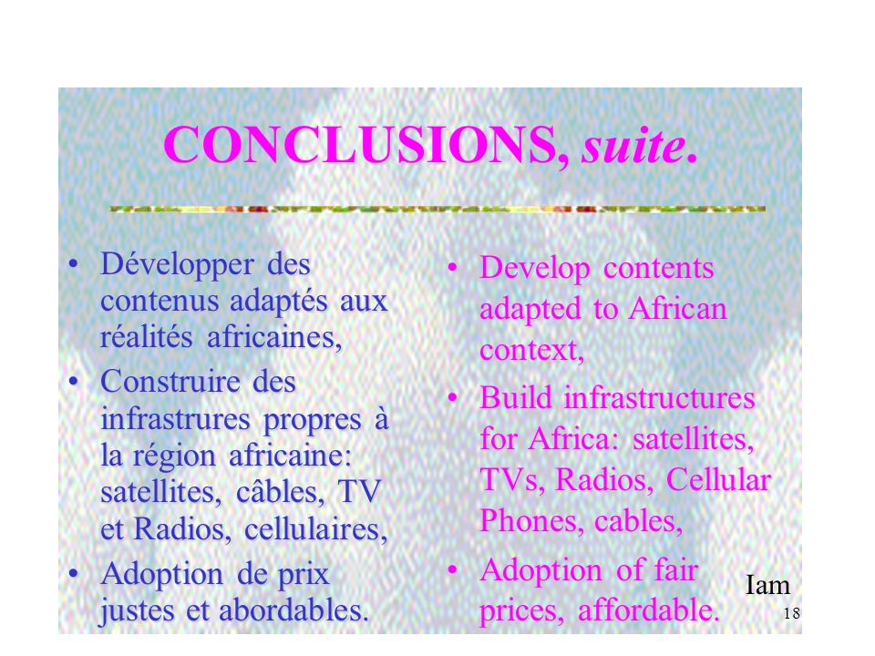 Iam 17 CONCLUSIONS.