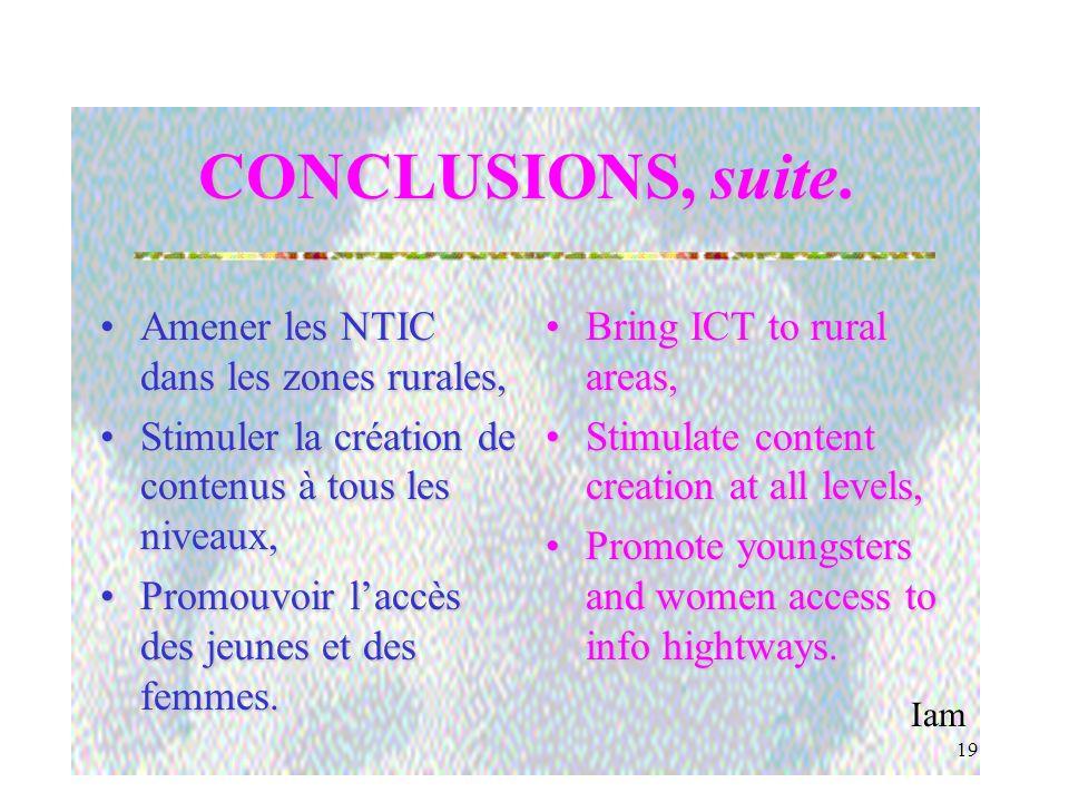 Iam 18 CONCLUSIONS, suite. Développer des contenus adaptés aux réalités africaines,Développer des contenus adaptés aux réalités africaines, Construire