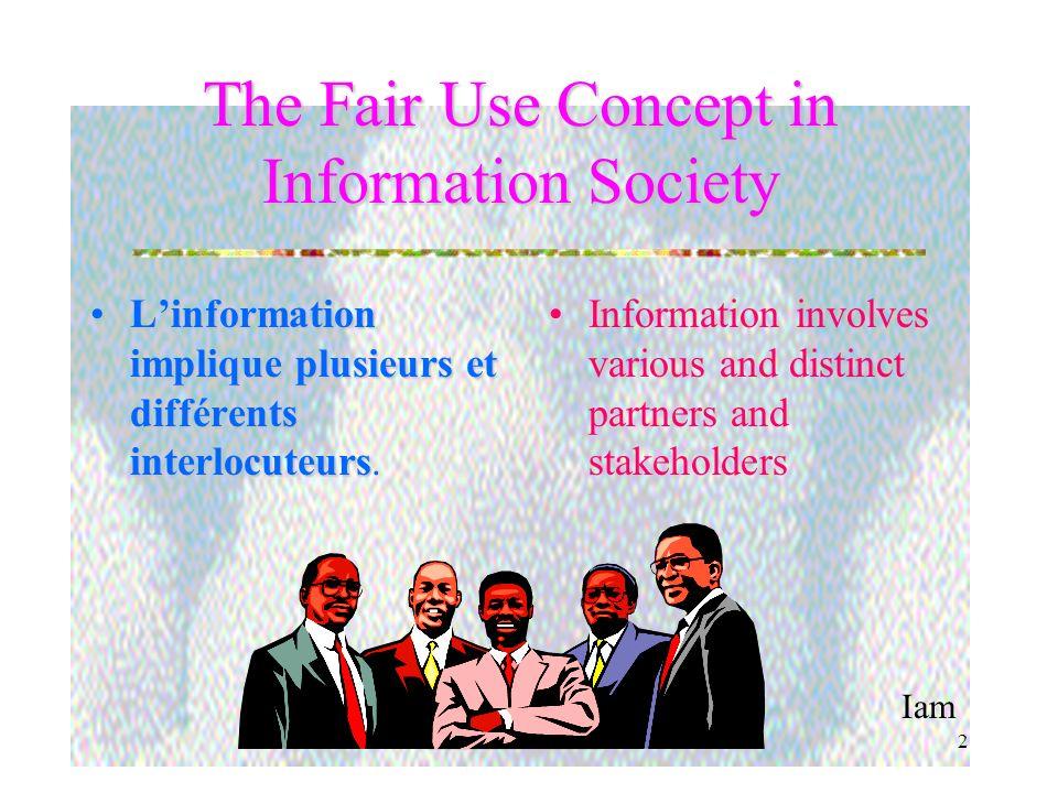 Iam 2 The Fair Use Concept in Information Society Linformation implique plusieurs et différents interlocuteursLinformation implique plusieurs et différents interlocuteurs.