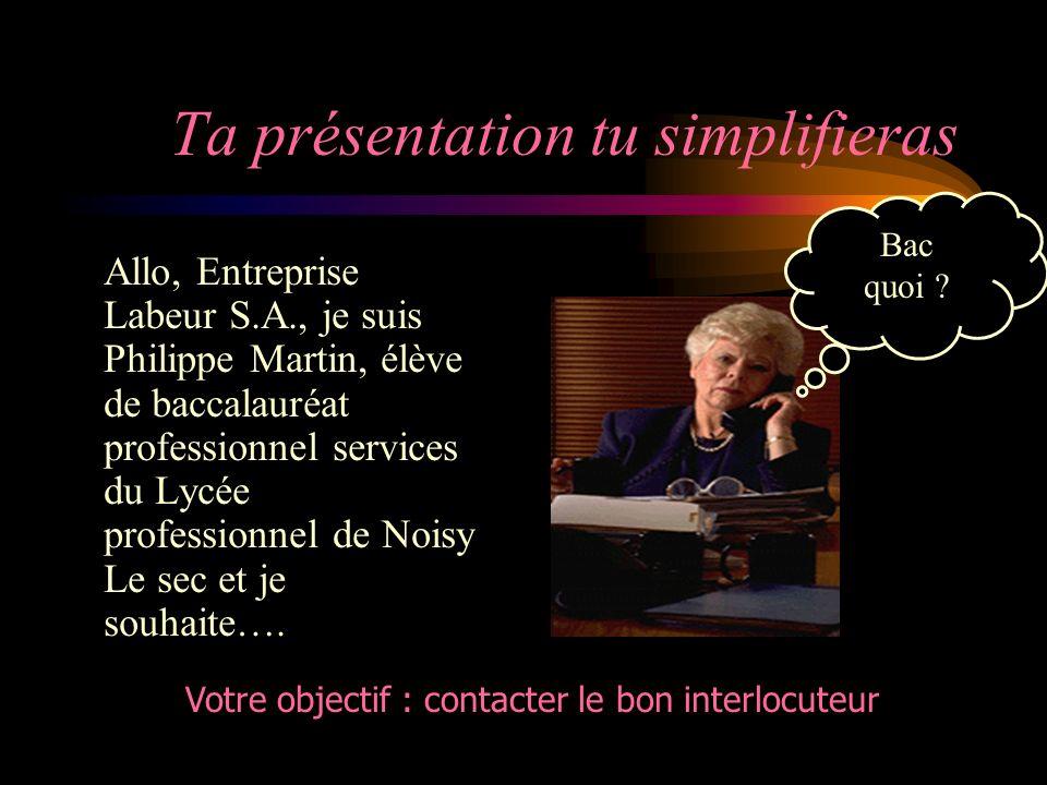Ta présentation tu simplifieras Allo, Entreprise Labeur S.A., je suis Philippe Martin, élève de baccalauréat professionnel services du Lycée professionnel de Noisy Le sec et je souhaite….