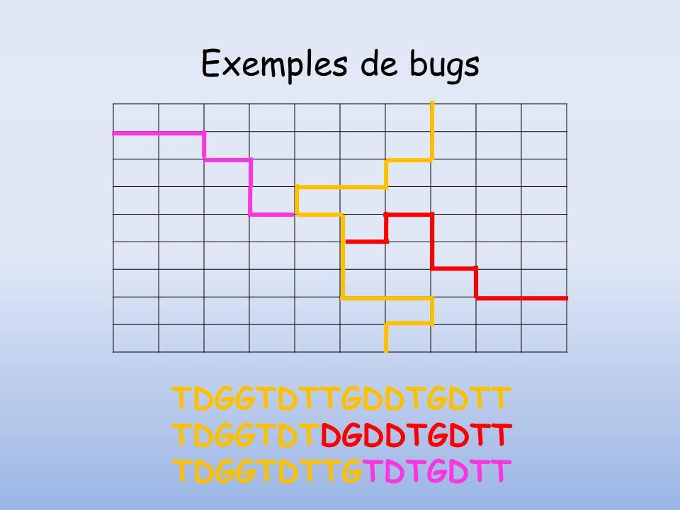 Exemples de bugs TDGGTDTTGDDTGDTT TDGGTDTDGDDTGDTT TDGGTDTTGTDTGDTT