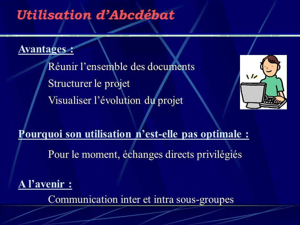 Utilisation dAbcdébat Avantages : Réunir lensemble des documents Structurer le projet Visualiser lévolution du projet Pourquoi son utilisation nest-el