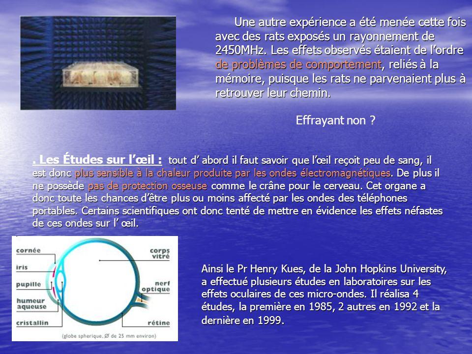 Une autre expérience a été menée cette fois avec des rats exposés un rayonnement de 2450MHz. Les effets observés étaient de lordre de problèmes de com