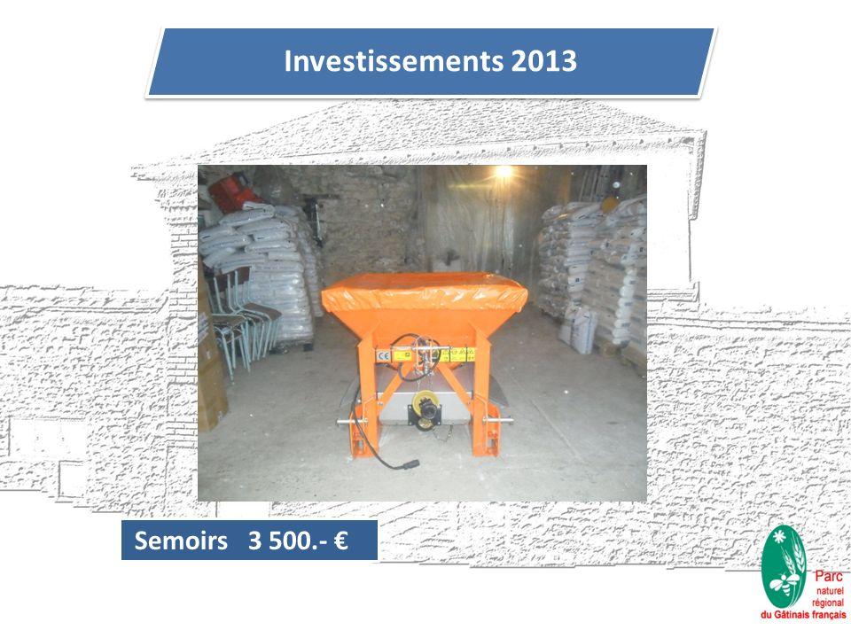 Semoirs 3 500.- Investissements 2013