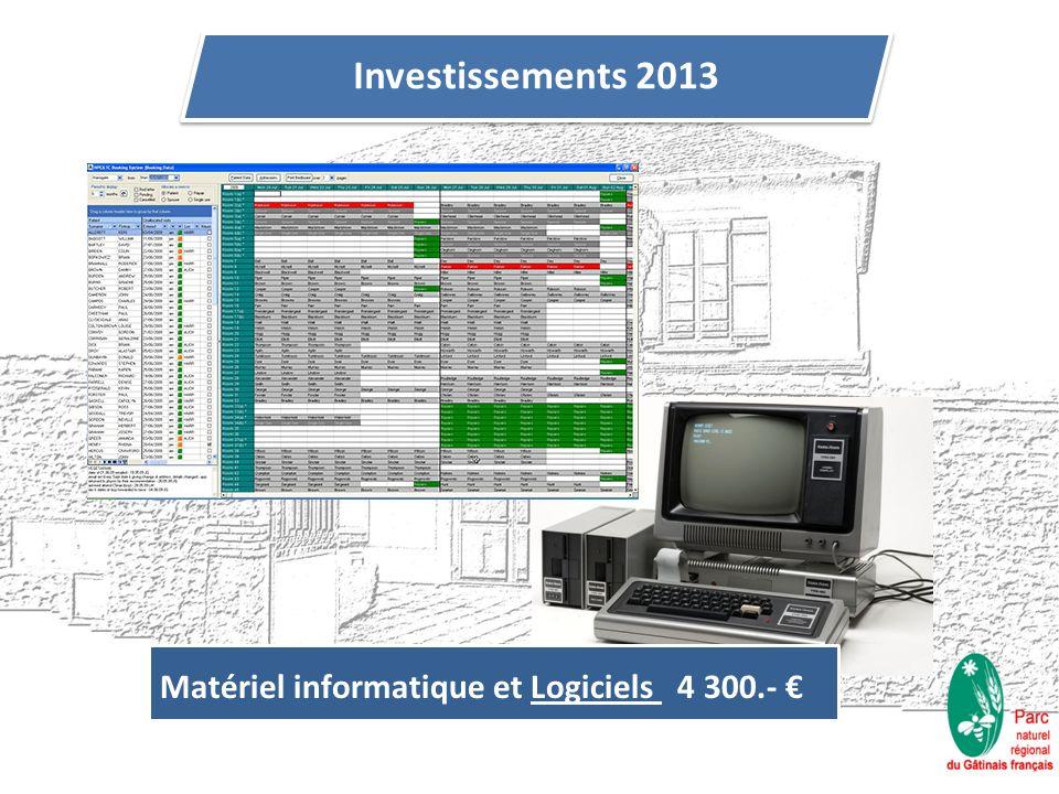 Investissements 2013 Matériel informatique et Logiciels 4 300.-