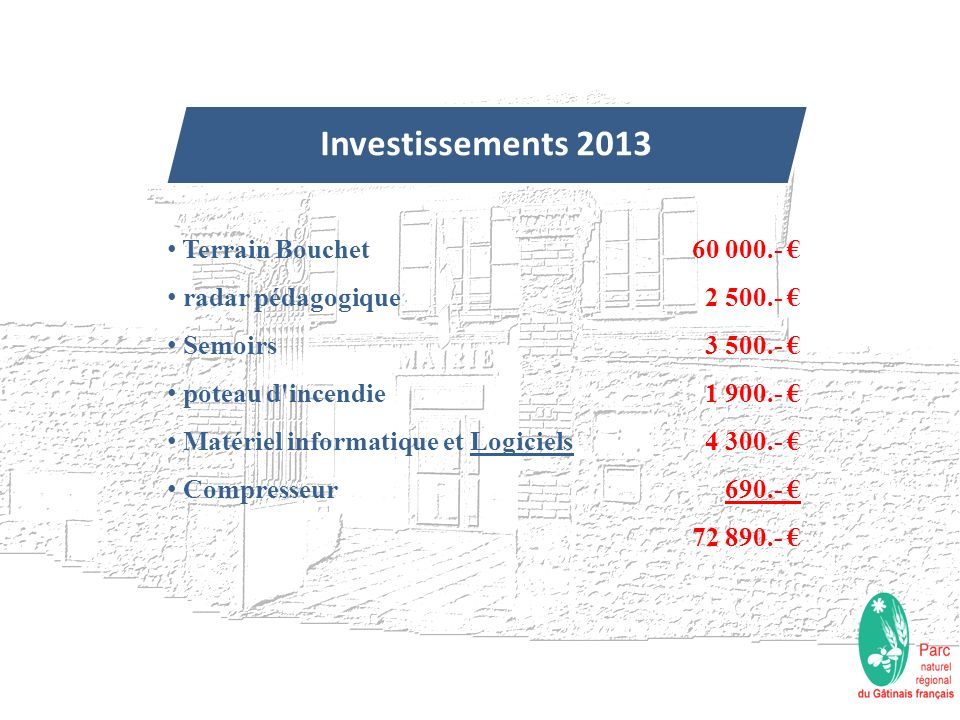 Investissements 2013 Terrain Bouchet radar pédagogique Semoirs poteau d'incendie Matériel informatique et Logiciels Compresseur 60 000.- 2 500.- 3 500